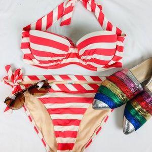 Old Navy Red and White Striped Bikini Set